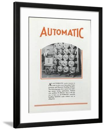 A Man Using an Automatic Transportation Company's Automatic Truck to Move Heavy Loads Within a Fact--Framed Giclee Print