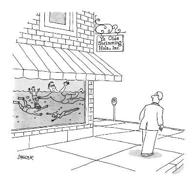 A man walks by store with people swimming in the window, store sign reads,? - New Yorker Cartoon-Jack Ziegler-Premium Giclee Print