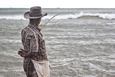 A Man with a Fishing Line on Mirissa Beach-Alex Saberi-Photographic Print