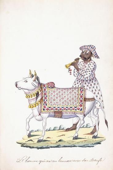 A Man with His Ox, C. 1825 (Pencil, Pen, Black Ink, W/C, on Whatman Paper)--Giclee Print