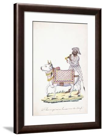 A Man with His Ox, C. 1825 (Pencil, Pen, Black Ink, W/C, on Whatman Paper)--Framed Giclee Print