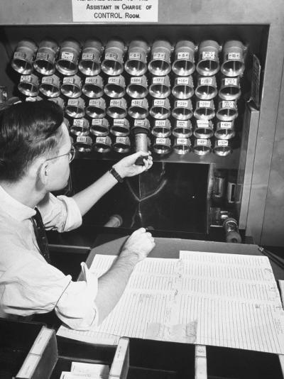 A Man Working in the Control Room in the Basement of the Library of Congress--Photographic Print