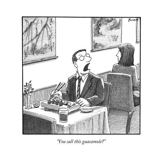 A man yelling loudly, complaining in a sushi restaurant  - New Yorker Cartoon-Harry Bliss-Premium Giclee Print