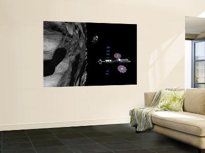 A Manned Maneuvering Vehicle Descends Toward the Surface of a Small Asteroid-Stocktrek Images-Wall Mural