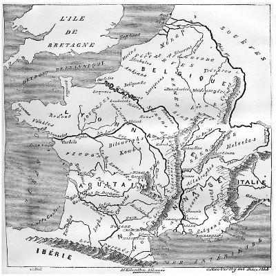 A Map of Gaul During the Time of Augustus, 1848, (1882-188)- MacCarthy-Giclee Print