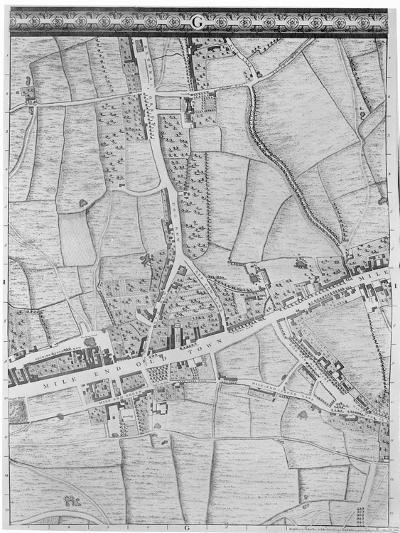 A Map of Mile End, London, 1746-John Rocque-Giclee Print