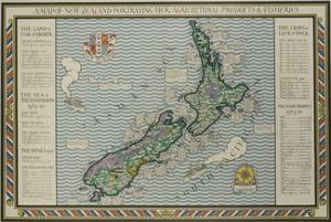 A Map of New Zealand Portraying Her Agricultural Products and Fisheries