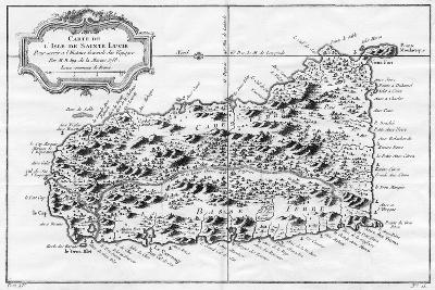 A Map of St Lucia, the West Indies, 1758-N Bellun-Giclee Print