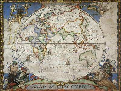 A Map of the Eastern Hemisphere Depicting Famous Explorers Routes Painted in 1927-Victor R^ Boswell, Jr-Photographic Print
