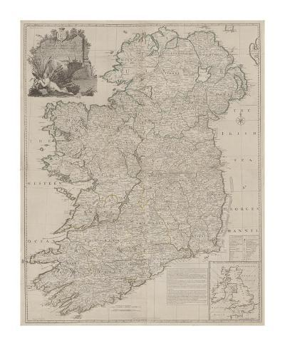 A Map of the Kingdom of Ireland, Divided into Provinces-John Rocque-Premium Giclee Print