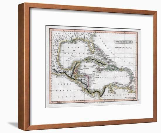 A Map of the West Indies, 1808-C Smith-Framed Giclee Print