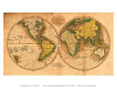 A Map of the World from the Best Authorities - The Track of Captain Cook--Art Print