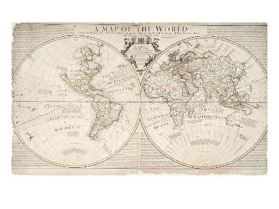 A Map of World, Corrected from the Observations to the Royal Societies of London and Paris-John Senex-Giclee Print