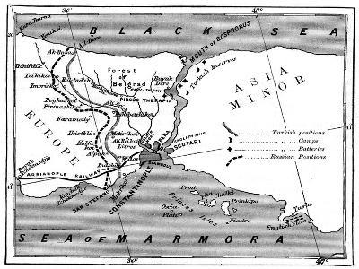 A Map Showing the Positions of Russian and Turkish Lines Outside Constantinople, 1900--Giclee Print