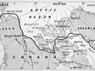 A Map Showing the Route of Amundsen's Voyage Through the North-West Passage--Photographic Print