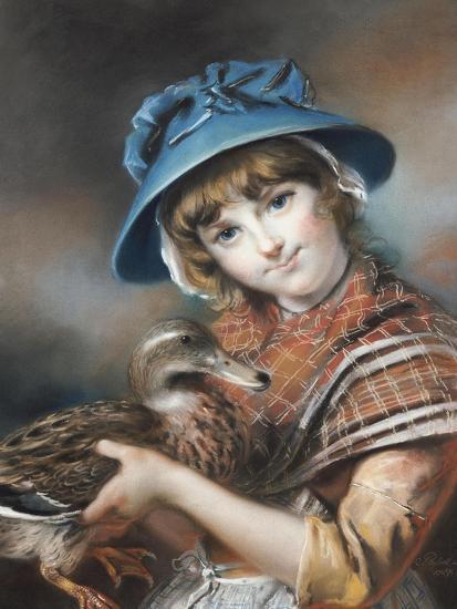 A Market Girl Holding a Mallard Duck, 1787-John Russell-Giclee Print