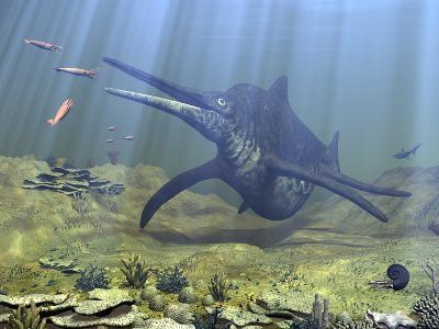 A Massive Shonisaurus Attempts to Make a Meal of a School of Squid-Like Belemnites-Stocktrek Images-Photographic Print