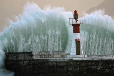 A Massive Wave Breaks over Kalk Bay Harbour Wall in Cape Town, South Africa-Nic Bothma-Photographic Print