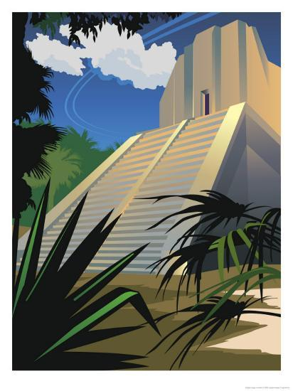 A Mayan Temple in Mexico--Art Print