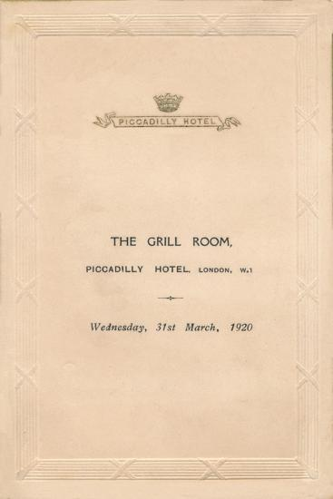 A menu for The Grill Room of the Piccadilly Hotel, London, 1920-Unknown-Giclee Print
