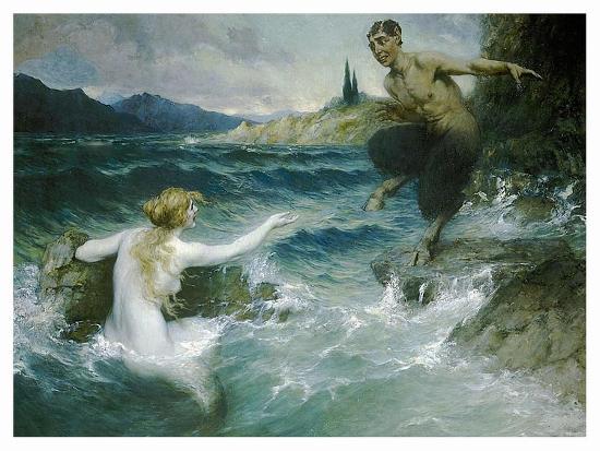A Mermaid Tempting A Satyr Into The Water-Ferdinand Leeke-Art Print
