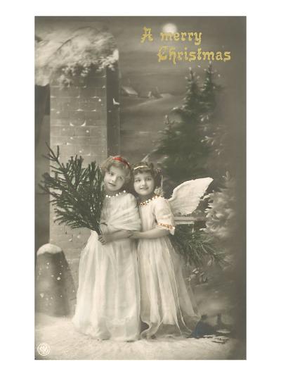A Merry Christmas, Cherub and Girl--Art Print