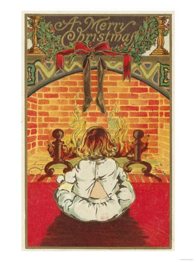 A Merry Christmas - Child in Front of Fireplace-Lantern Press-Art Print