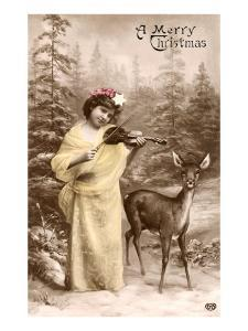 A Merry Christmas, Fiddling Girl with Deer