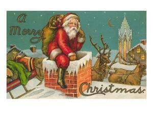 A Merry Christmas, Santa Entering Chimney