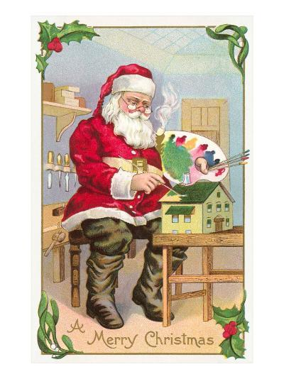 A Merry Christmas, Santa in Workshop--Art Print