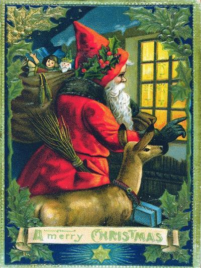 A Merry Christmas, Santa Tapping on the Window Card--Giclee Print