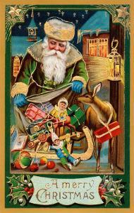 A Merry Christmas, Santa with Bag
