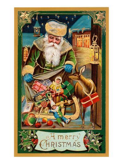 A Merry Christmas, Santa with Bag--Art Print