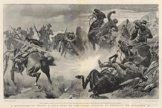 A Messenger of Death, a Good Shot by the Naval Brigade at Estcourt, on 18 November-John Charlton-Giclee Print