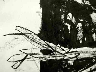 A Messy Grunge Background Hand Made With Black Indian Ink-lavitrei-Art Print