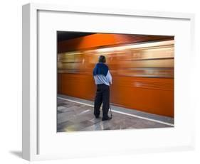 A Mexican Citizen Waits for the Metro to Stop, Mexico City, Mexico-Brent Bergherm-Framed Photographic Print