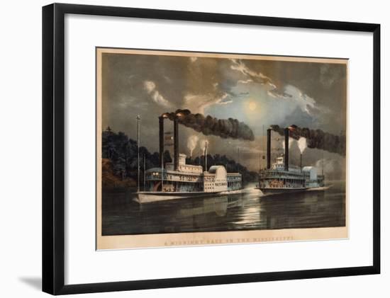 A Midnight Race on the Mississippi-Mary Cassatt-Framed Giclee Print
