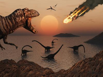 A Mighty T. Rex Roars from Overhead as a Giant Fireball Falls from the Sky-Stocktrek Images-Photographic Print