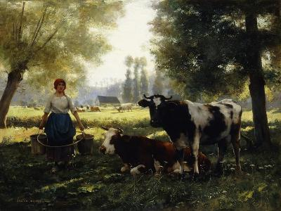 A Milkmaid with her Cows on a Summer Day-Julien Dupre-Giclee Print