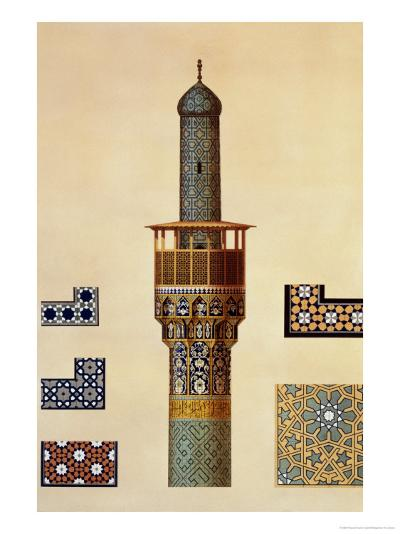 A Minaret and Ceramic Details from the Mosque of the Medrese-I-Shah-Hussein, Isfahan-Pascal Xavier Coste-Giclee Print