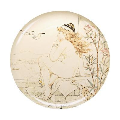 A Minton Art Pottery Studio Charger, Painted with a Nude Staring Out to Sea, 19th Century-William Stephen Coleman-Giclee Print