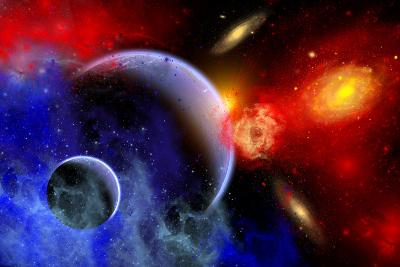 A Mixture of Colorful Stars, Planets, Nebulae and Galaxies--Art Print