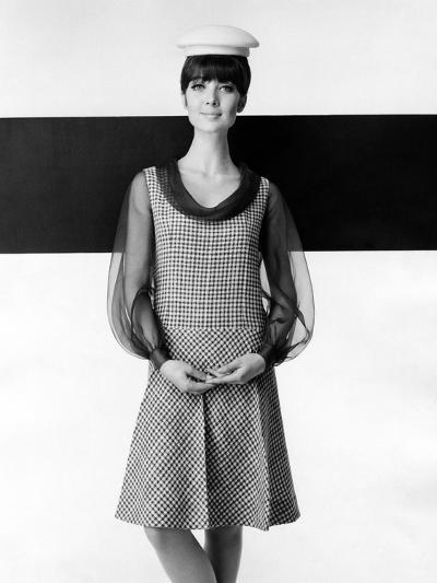 A Model Poses in a High-fashion Dress--Photographic Print