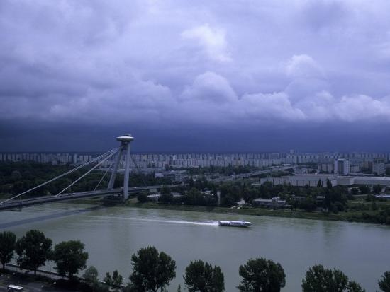 A Modern Bridge Separates the Old and New Parts of the City, Bratislava, Slovakia-Taylor S^ Kennedy-Photographic Print