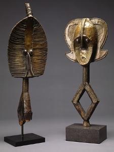 A Mohongwe Reliquary Figure, and a Kota Brass-Covered Reliquary Figure, Mbulu-Ngulu