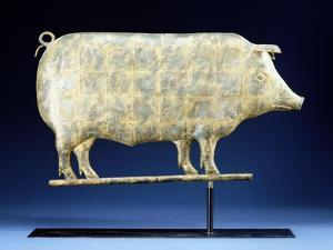A Molded and Copper Gilded Copper Pig Weathervane, American, 19th Century