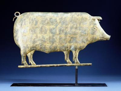 A Molded and Copper Gilded Copper Pig Weathervane, American, 19th Century--Giclee Print