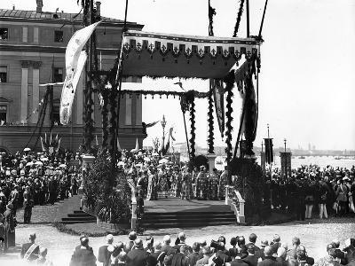 A 'Molebin' During the Inauguration of the Troitsky Bridge across the River Neva--Photographic Print