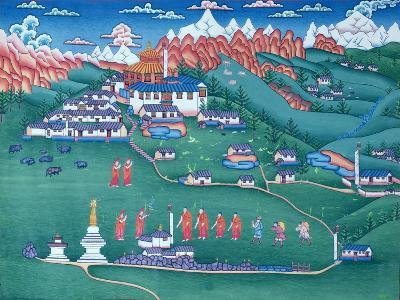 A Monastery in Tibet, Painted by Tibetan Refugees in Nepal--Giclee Print