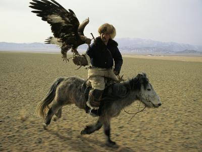 A Mongolian Eagle Hunter in Kazahkstan-Ed George-Photographic Print